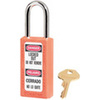 Zenex, Safety Lockout Padlock, DANGER LOCKED OUT DO NOT REMOVE, PELIGRO CERRADO NO LO QUITE, Thermoplastic, Orange, Keyed Different