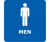 Bathroom Sign, English, MEN, Styrene Plastic, PVC, Adhesive Backed, White on Blue, 8 in, 8 in