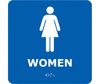 Bathroom Sign, English, WOMEN, Styrene Plastic|PVC, Adhesive Backed, White on Blue, 8 in, 8 in