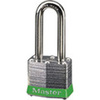 Safety Lockout Padlock, Laminated Steel, Green (Bumper), Keyed Different