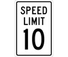 Speed Limit 10 Sign, Aluminum