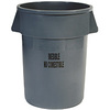 Rubbermaid BRUTE FG264356GRAY Round Container, 44 GAL, Gray, INEDIBLE