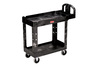 Rubbermaid 4500-88 HD 2-Shelf Utility Cart with Lipped Shelf, Black, 500 lb