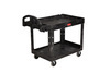 Rubbermaid FG452088BLA Medium Black 2-Shelf Utility Cart