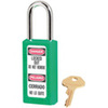 Zenex, Safety Lockout Padlock, DANGER LOCKED OUT DO NOT REMOVE, PELIGRO CERRADO NO LO QUITE, Thermoplastic, Green, Keyed Different