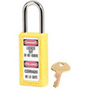 Zenex, Safety Lockout Padlock, DANGER LOCKED OUT DO NOT REMOVE, PELIGRO CERRADO NO LO QUITE, Thermoplastic, Yellow, Keyed Different