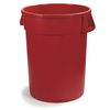 Bronco, Round Container, 10 gal, Red, Round, 16.13 Dia x 17 H in, Linear Low-Density Polyethylene, 17 in, 16.13 in, 341011 Series Lid, No, NSF 21 Listed, NSF 2, 6 per Pack, Heavy-Duty, BPA-Free