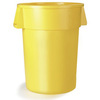 Bronco, Round Container, 10 gal, Yellow, Round, 16.3 Dia x 17 H in, Linear Low-Density Polyethylene, 17 in, 16.13 in, 341011 Series Lid, No, NSF 21 Listed, NSF 2, 6 per Pack, Heavy-Duty, BPA-Free