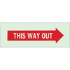 BradyGlo, Exit Sign, English, THIS WAY OUT, Polyester, Adhesive Backed, Red on Green, 3-1/2 in, 10 in