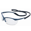 North®, Safety Glasses, Polycarbonate, Clear, Scratch-Resistant|Anti-Fog, Nylon, Framed, Metallic Blue