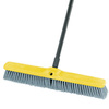 Floor Sweep, Polypropylene, Flagged Bristles, 24 in, Threaded, Gray