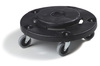 Flo-Pac®, Twist On Dolly, 20, 32, 44, 55 gal Containers, 6 in, Polyethylene, Black, 1, 5, Swivel Caster, 3 in, NSF Certified, Simple Twist-To-Lock Feature, BPA-Free, Replaceable Caster