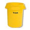 BRUTE®, Round Container, 32 gal, Yellow, Round, TRASH