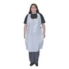 Disposable Apron, Polyethylene, White, 55 in, 28 in, Universal, 1-1/2 mil