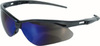 Jackson Safety®, Safety Glasses, Polycarbonate, Blue Mirror, Framed, Black