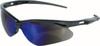 Jackson Safety®, Safety Glasses, Polycarbonate, Blue Mirror, Framed, Black