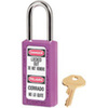 Zenex, Safety Lockout Padlock, DANGER LOCKED OUT DO NOT REMOVE, PELIGRO CERRADO NO LO QUITE, Thermoplastic, Purple, Keyed Different