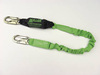 Miller®, Shock Absorbing Lanyard, Stretchable Webbing, Green, 4 ft, Locking Snap Hook (Harness), Locking Snap Hook (Anchor)