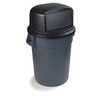 Bronco, Container Lid, 12.21 in, Round, High-Density Polyethylene, Black, 22.84 in, 22.84 Dia x 12.21 H in, 32 gal Bronco Containers, 1 Each