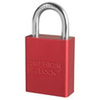 American Lock®, Safety Lockout Padlock, Aluminum, Red, Keyed Different