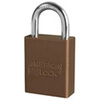 American Lock®, Safety Lockout Padlock, Aluminum, Brown, Keyed Alike