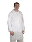 Disposable Lab Coat, Spun Bound Polypropylene, White, Snaps, 4XL-Large, EN1186, 30 per Case