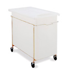 White Mobile Ingredient Bin & Sliding Lid 35 Gal 30 ¾ x 14 ¾ x 28 ½