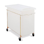 White Mobile Ingredient Bin & Sliding Lid 40 Gal 30 ¾ x 18 ½ x 29 ½