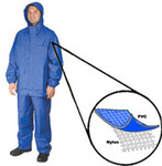 Rain Bib Trouser, PVC on Nylon, Navy Blue, Snap without Fly Front