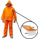 Rain Bib Trouser, PVC on Nylon, Orange, Snap without Fly Front