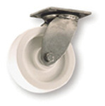 Swivel Plate Caster, 650 lbs, 6 in, Polyolefin with Delrin Bearing, White