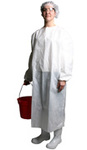 Diposable Smock, Non Woven Polypropylene, White, break-away neck, 3X-Large, EN1186, 50 per case