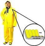 Rain Jacket, PVC on Polyester, Yellow, Snap Front Closure With Storm Flap, 60 mil