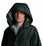 Rain Jacket, PVC/Poly, green, 2x-large, inner elastic, Storm Fly Snap Front, unisex, wind tight, water repellant