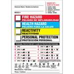 Hazardous Labels, English, Spanish, FIRE HAZARD, HEALTH HAZARD, REACTIVITY, PERSONAL PROTECTION, Paper, Adhesive Backed