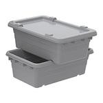 Cross-Stacking Tub, Polyethylene, Gray
