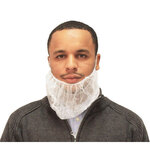 White Polypropylene Disposable Beard Covers Economy M8 ME2518W