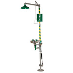 AXION MSR, Combination Drench Shower and Eyewash Station, Floor Mount, Yellow / Green