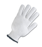 White Cotton Glove Liner String Knit Standard Weight