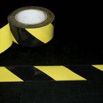 Warning Tape, Pressure-Sensitive Vinyl, Striped, Black / Yellow, 2 in, 18 yds