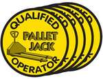 Hard Hat Emblems, English, QUALIFIED PALLET JACK OPERATOR, Vinyl, Adhesive Backed, Yellow