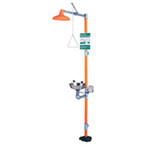 GS-PLUS, Combination Drench Shower and Eyewash Station, Floor Mount, Orange