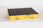 Eagle® 1645 Yellow 4 Drum Low Profile Containment Pallet with Drain