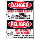Equipment Label, English, Spanish, DANGER/PELIGRO - KEEP HANDS CLEAR WHEN EQUIPMENT IS RUNNING/NO ACERQUE LAS MANOS CUANDO EL EQUIPO ESTE FUNCIONANDO, Vinyl, Adhesive Backed, Black / Red on White