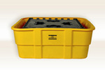 Ibc Containment Tub, Polyethylene, 10000 lbs, Yellow, 400 gal, 67 in, 26 in, 67 in, 67 L x 26 W x 67 H in, Chemical Resistant