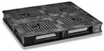 Rackable Pallet, 40 L x 48 W in, Plastic, Black, 2000 lbs, One-Piece Design, Flat Deck, 100% Recyclable, 4-Way Entry