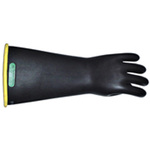 Insulating Gloves, Natural Latex Rubber, 14 in, Black, Class 2, 9