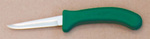 Boning Knife, Angled, Stainless Steel, Soft Grip, Polished, Crystolon, Slip-Resistant, Green, 12 per Carton, USDA Approved, Thumb Rest, Small Handle, 3-3/4 in