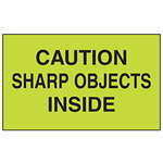 Dot & Shipping Labels, English, CAUTION - SHARP OBJECTS INSIDE, Adhesive Backed, Black on Light Green