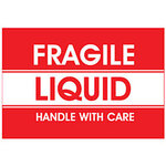 Dot & Shipping Labels, English, FRAGILE LIQUID/HANDLE WITH CARE, Adhesive Backed, White / Red on White / Red